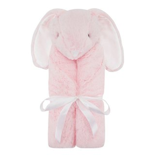 American Quiltex Super Soft Animal Baby Blanket Comforting Blanket - Pink Long Eared Rabbit