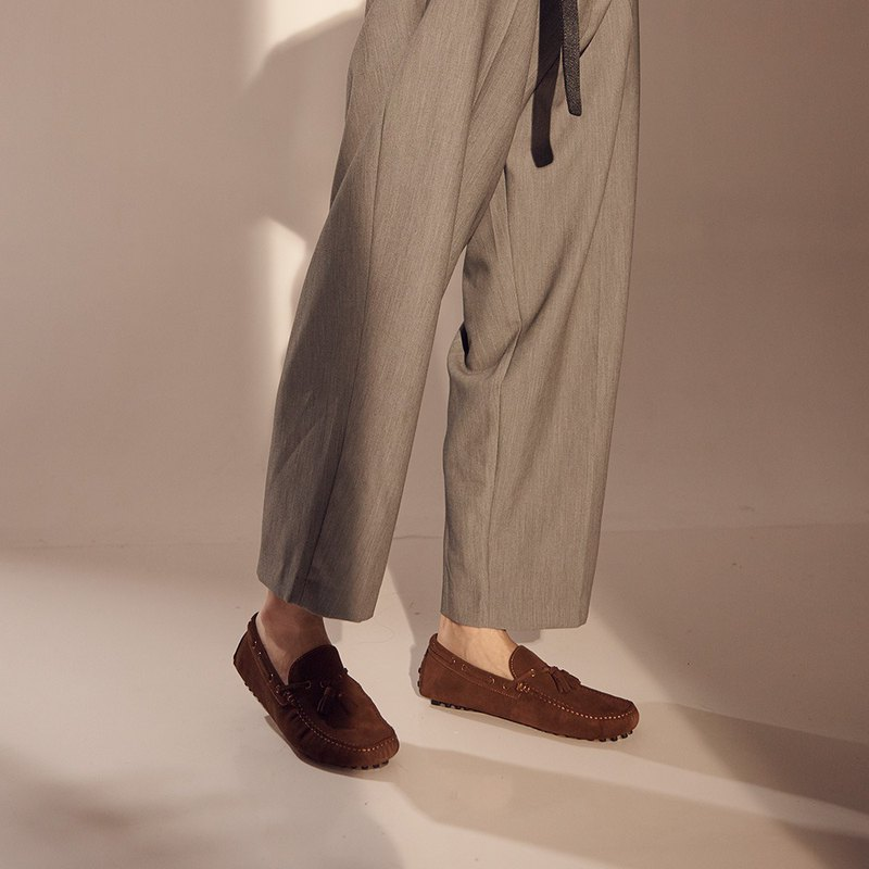 Vanger 造型流蘇樂福鞋 - Va266麂皮咖