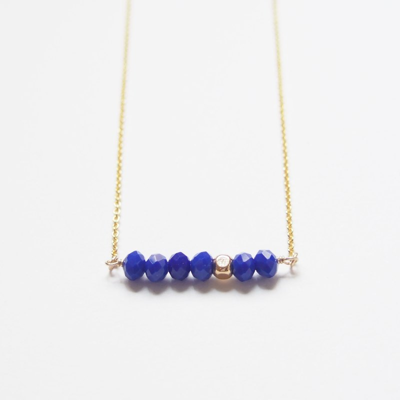 Minimalist temperament, gold-plated square beads, Czech faceted beads, gold-plated necklace (45cm)-royal blue