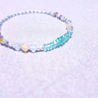Light blue apatite x orange moonstone x powder amethyst |