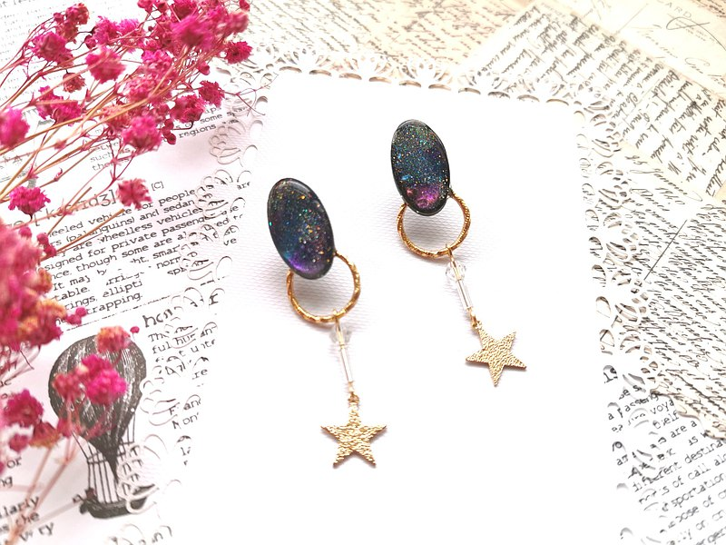 Magic Story Oval Concentrated Night Sky Universe Sense Handmade Resin Earrings