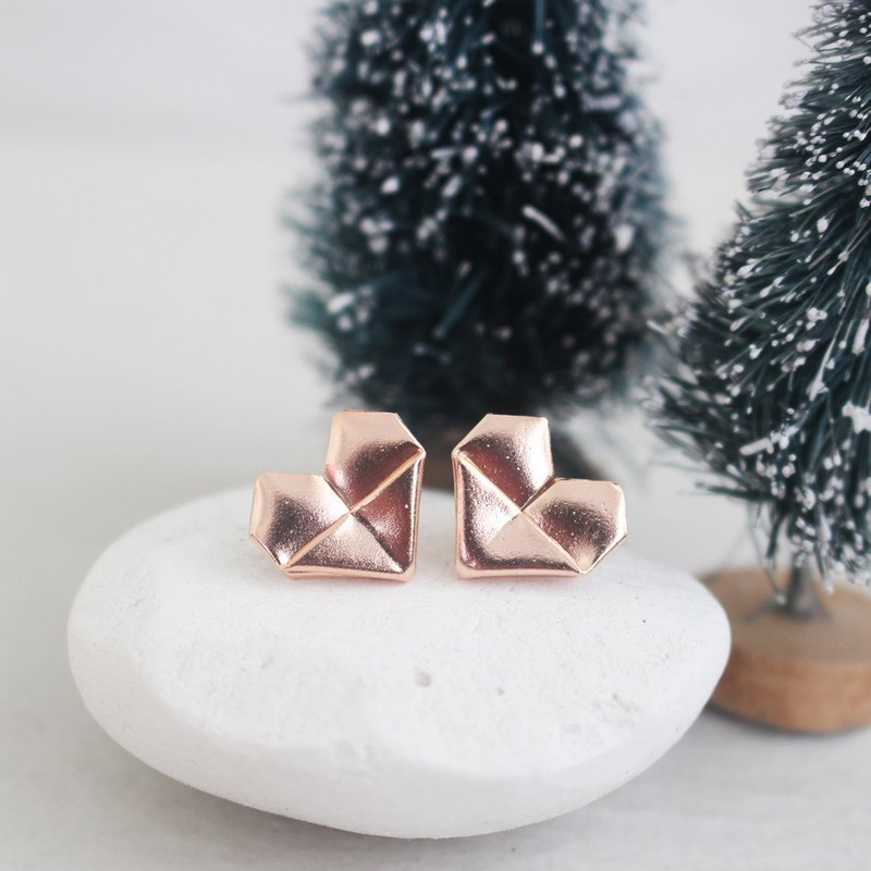 Rose Gold Plated Silver Origami Heart Earrings (Grand)