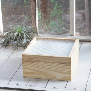 Old checkered embossed glass wooden box / cork wood _ limited