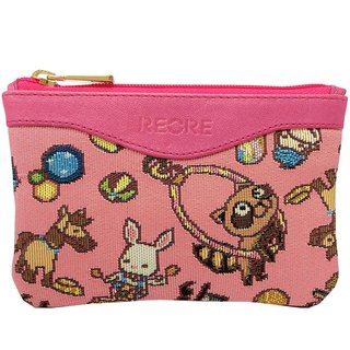 Leather stitching jacquard woven Videos purse happy mini circus (Pink) Pink