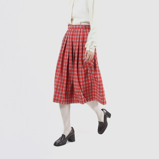 [Egg plant ancient] colorful light plaid wool vintage dress