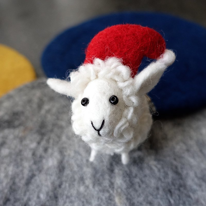 Wool felt doll, charm, key ring Christmas roll sheep