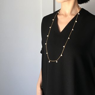 3way available : Long necklace of Freshwater Pearl (Gold)