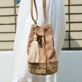 Brown mini bucket bag