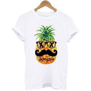 Pineapple-bonjour short-sleeved T-shirt - white beard pineapple Hello French food design own brand Wen Qing