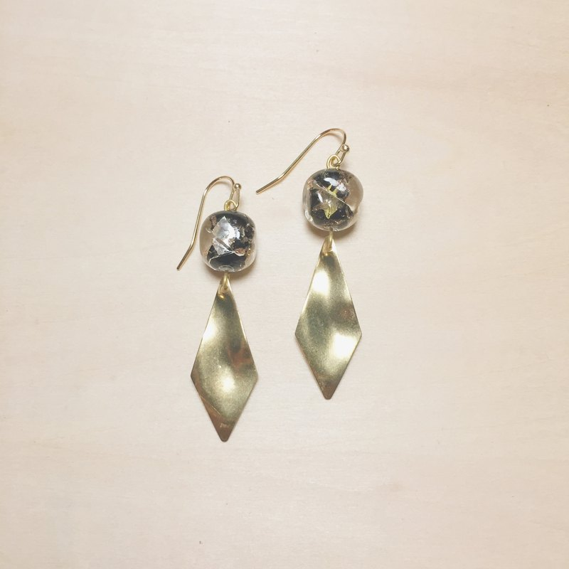 Retro black round side square gold and silver foil glass earrings