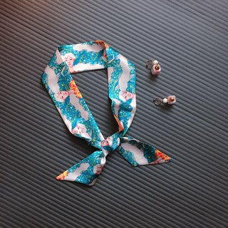 Silk Ribbon / Scarf Light Blue Original Design Hair Band / Scarf / Gift / Original Design
