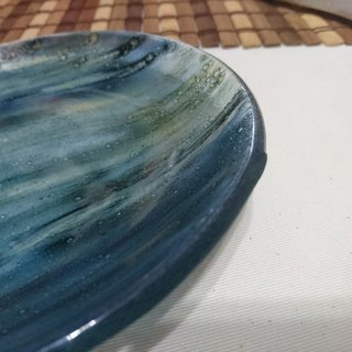 Hand painted glaze discs - worry blue