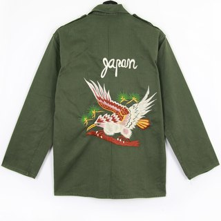 Back to Green :: Military Embroidered Shirt Jacket Embroidered Tiger Rear Pursuit and Birds // Both men and women wear // vintage (J-02)