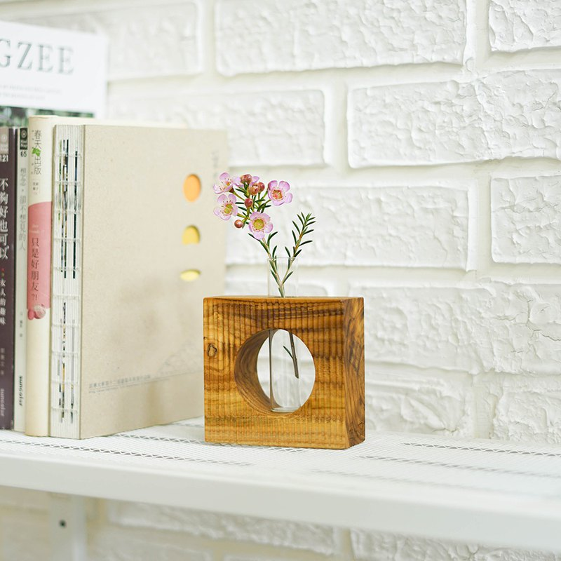 [Valentine's Day + Fast Shipment] Natural Teak Glass Tube Flower-Square Stripe Style/Small Office Items