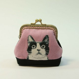 Embroidery 8.5cm gold coin purse 21 - black and white cat