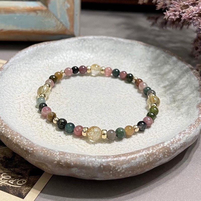 無限能量 - 天然石手環 ---- 鈦晶 碧璽