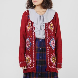 [Egg plant vintage] colorful wool ball vintage knit open coat