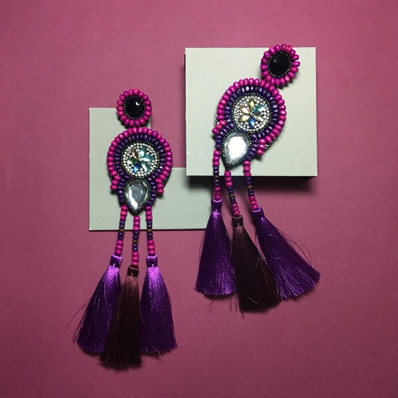 earrings : boho chic x3rd purple l red