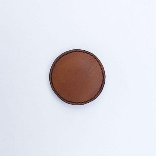 Tochigi leather of leather brooch round