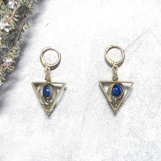 VIIART. Death sacred - green gold. Mysterious geometric lapis lazuli brass earrings - can be clipped