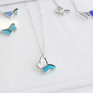 Stained glass necklace 【small butterfly】 clear · blue