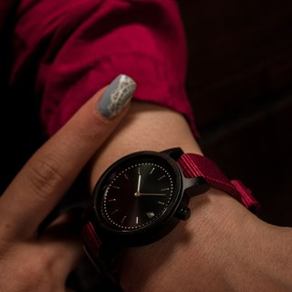 PRIME 1.0.0 Dark Hardwood Wooden Watch - Burgundy 34mm