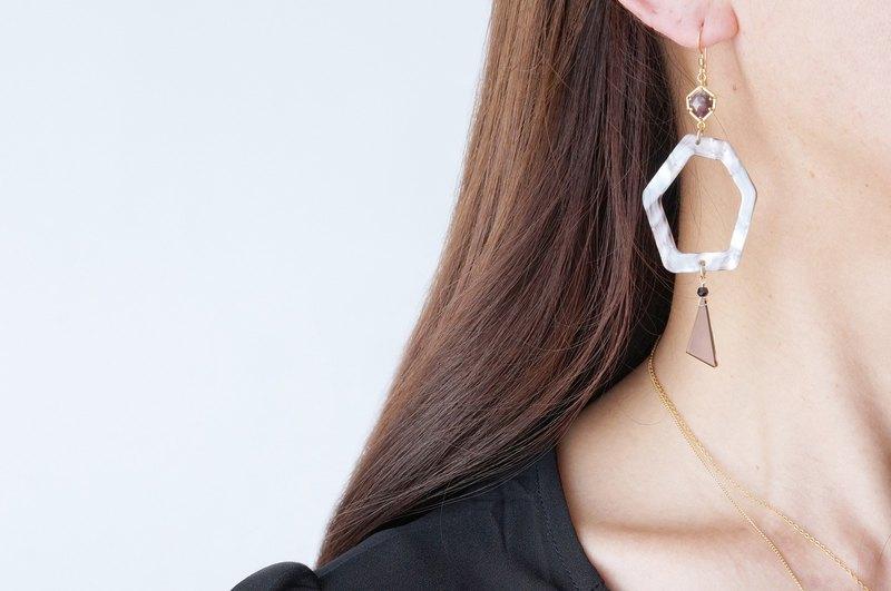 【大理石】14 KGF耳環,六角寶石 -  008  -