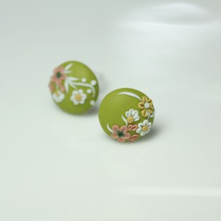 Flowers say - Green Series 925 Pure Silver Ear Pins