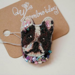 Qy's dogs French Bulldog hand embroidery brooch pin gift
