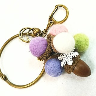 Paris. Happy hand made. Rainbow forest wool felt. Pine nuts. Acorn bunch. Bag accessories. key ring