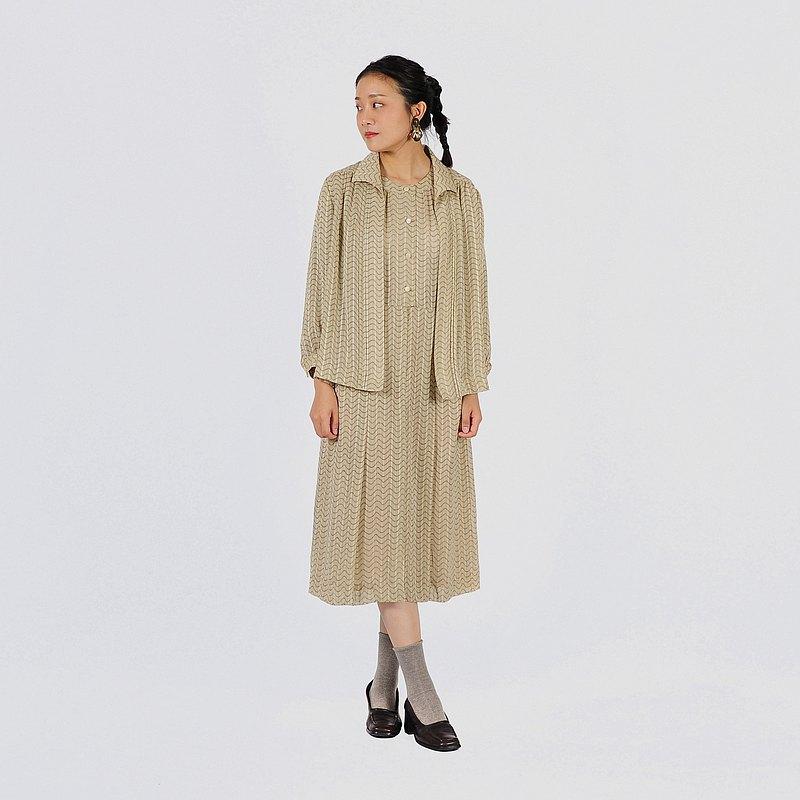 【蛋植物古著】寧靜時光洋裝式古著套裝