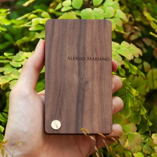 Walnut handmade card holder + earphone wire / customization
