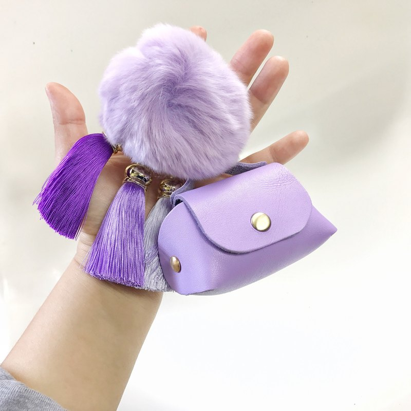 zemoneni leather coin purse with fluffy ball.
