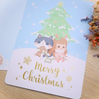 Snow Christmas gold foil Christmas card 3 group / ChiaBB illustration postcards