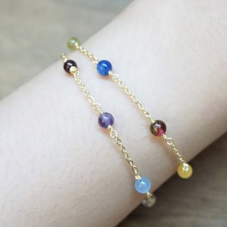 << Lucky 12 Birthstone Wishing Bracelet>> Birthstone Double Ring Fine Bracelet