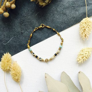 Classic rice roll brass bracelets - spotted stone