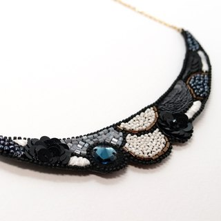 Crescent Shaped Embroidery Necklace / Misty Grey