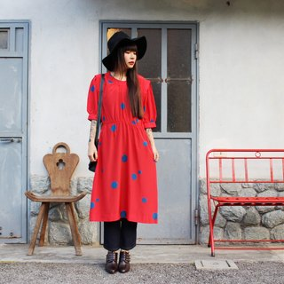 F3023 [Vintage Dress] red bottom black small little big blue dot short-sleeved vintage dress (wedding / picnic / party)