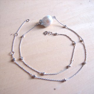Free Postage:Irregular Freshwater Pearl with bling silver necklace