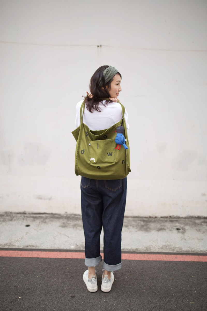 Slow Living Series Embroidered Large Eco Backpack Grass Green Without Charm