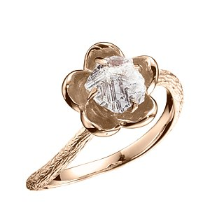 Uncut raw diamond engagement ring. 18k yellow gold flower nature inspired ring.