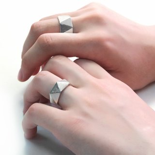 Continued Future Triangle 925 Silver Ring (One Pair) - 64DESIGN