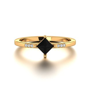 【PurpleMay Jewellery】18k Yellow Gold Black Onyx Natural Diamond Ring Band R027