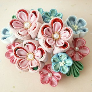 [New color] Kimono Shichigosan and hair ornaments for adult ceremonies 【Hair decorations like flowers / blue peach】