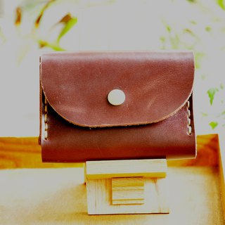 Double-layer card leather coin purse - dark brown leather