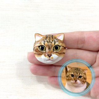 Custom cat portraits brooch, Custom cat brooch, Custom cat pin