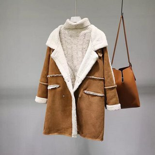 ~ Re: i fashion studio ~ Lamb suede large lapel double breasted long coat