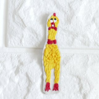 Embroidery brooch surprised chicken