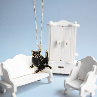 BLACK WISHES cat long necklace