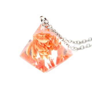 Colour Freak Studio Orange Dried Flower Necklace / Pyramid Triangle pendant / Flower In Ice Series